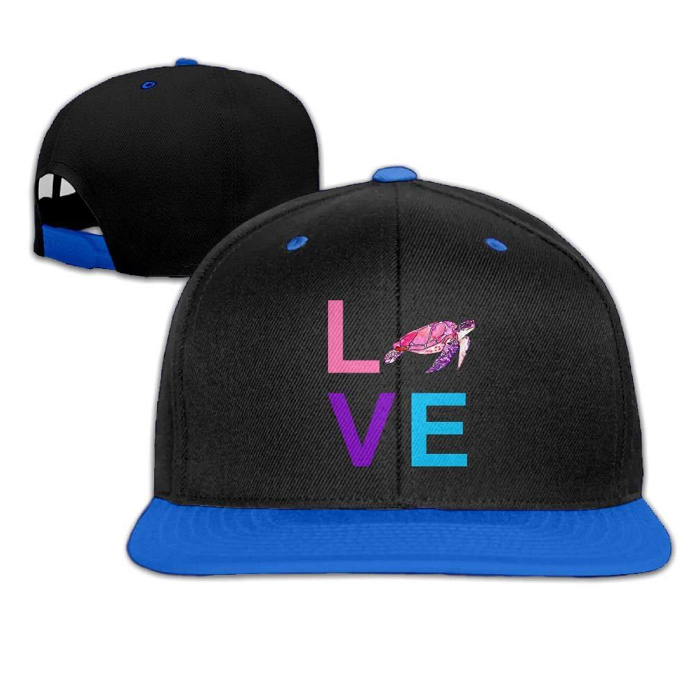 Love Turtle Unisex Hip-hop Hats Snapback Hat Solid Flat Cap