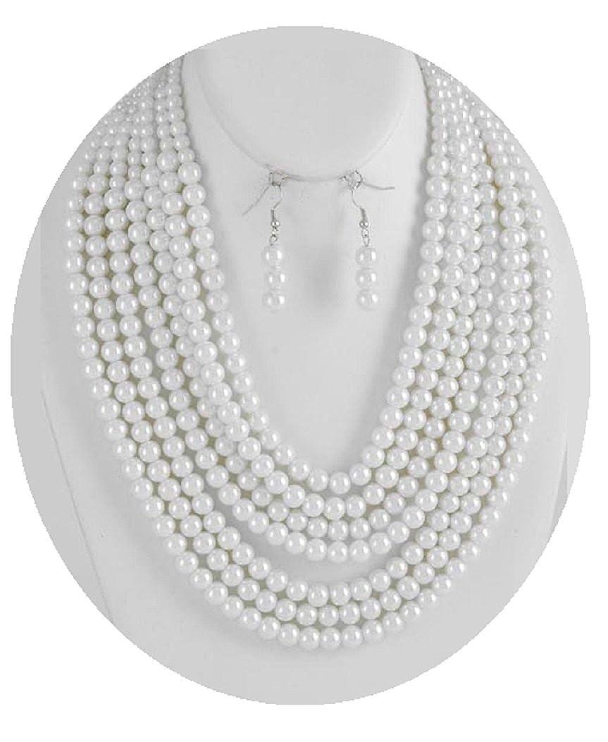 a38399cc590c6 Amazon.com: Shoppe23 Seven Strand Pearl Necklace Set Elegant 8mm ...
