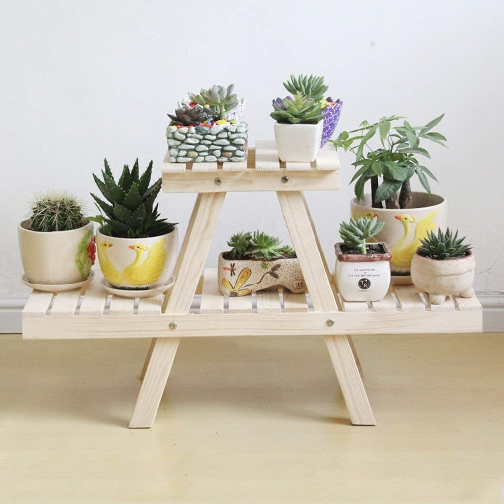 B Garden Flower Pot Rack Home Flower Stand Durable Outdoor Plant Stand Bonsai Shelve Wooden Flower Rack Solid Wood Balcony Flower Garden Flower Simple Flower Rack Multi-storey Flower Rack (color   A)