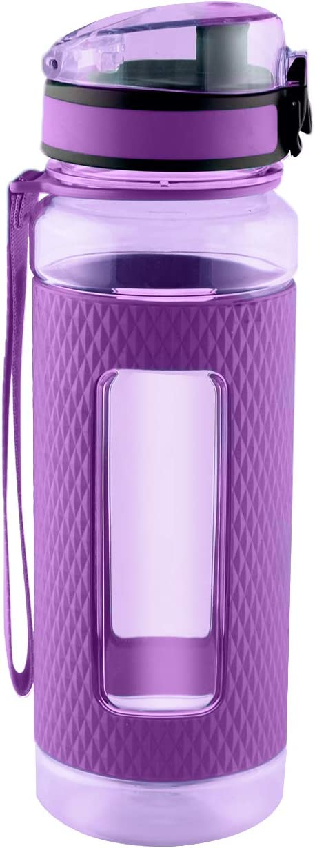 Sports Water Bottle with Silicone Sleeve, Wide Mouth with Easy Flip Top Cap, Reusable Drinking Container with Leak Proof Lid, Great for Running, Gym, Swimming - Plastic - 32oz | Purple