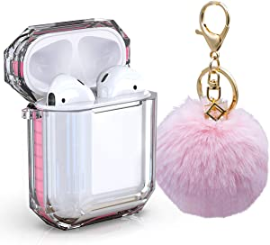 AirPods Case Cover, Zora Shockproof Protective Soft TPU Clear Apple Air Pods 1&2 Cover Case (Front LED Visible) Headphone Case with Cute Fur Ball Anti-Lost Keychain for Girls (Airpods 1, Pink)