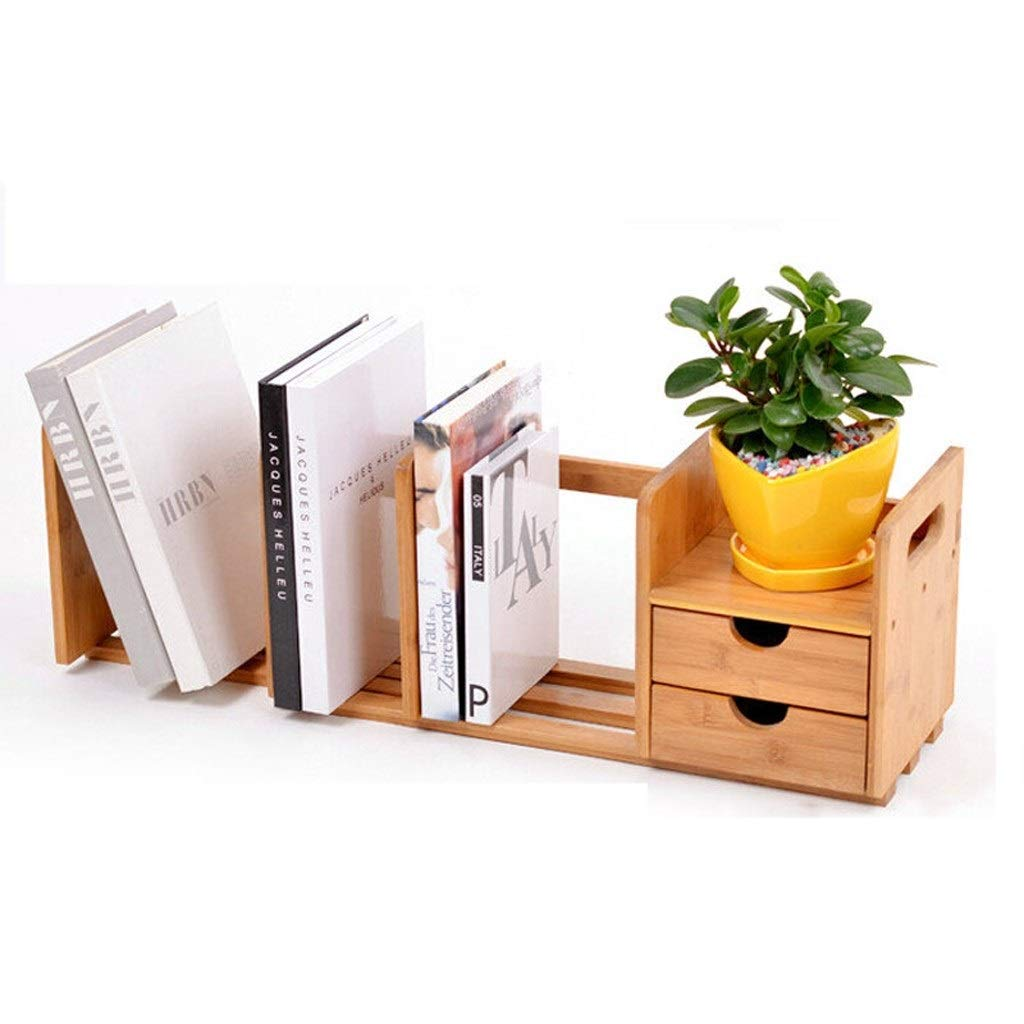 TIAN Natural Bamboo Bookshelf Desk Organizer with Extendable Storage for Office Home, CD Holder Media Rack Bookcase Desk Organizer by TIAN