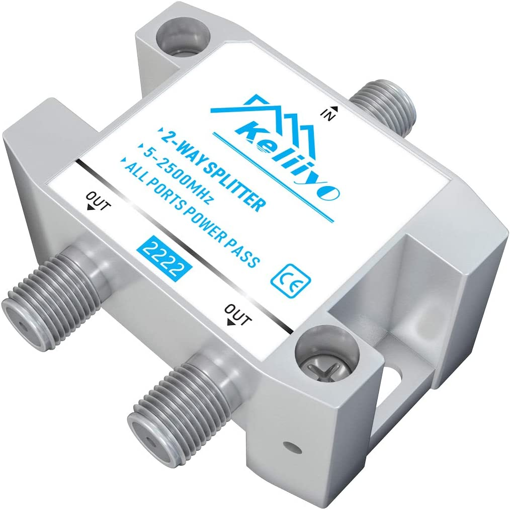 KELIIYO 2 Way Coaxial Cable Splitter 5-2500MHz,Work with Satellite TV CATV Antenna System and MoCA Configurations (Sliver-2 Way)