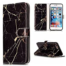 """NEXCURIO 5.5"""" iPhone 6S Plus / 6 Plus Wallet Case with Card Holder Folding Kickstand Leather Case Flip Cover for Apple iPhone 6S Plus / 6 Plus (5.5-inch) (Black Marble)"""