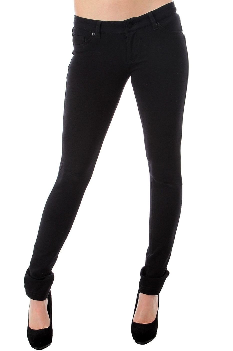 2LUV Women's Low Rise Ponte Stretch Skinny Pants Black L(P9128)