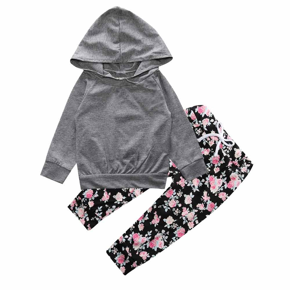 Baby Girls Gray Hoodie Top + Floral Pant Leggings 2 Piece Outfits Set Mary ye