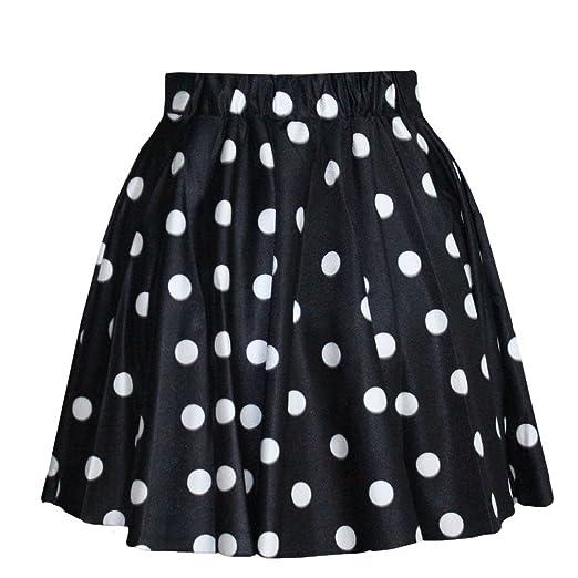 fb3641aedf SAYM Women Girls Stretchy Polka Dot Flared Casual Mini Skirt