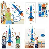 hot air balloon growth chart - Rocket & Hot Air Balloon Growth Chart with Stickers Wall Decals Height Measurement Ruler Nursery Home Decoration for Baby, Kids, Boys & Girls (58 x 160 cm)