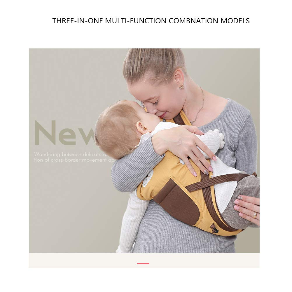 Portabeb/és Ergon/ómicas con Asiento de Cadera Cintura Ajustable para Beb/és Recien Nacido 0-36 meses Multifuncional Amarillo Happy Cherry