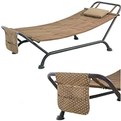 EFD Free Standing Hammock With Pillow And Case Steel Metal Stand Fabric  Upholstery Brown Modern Short