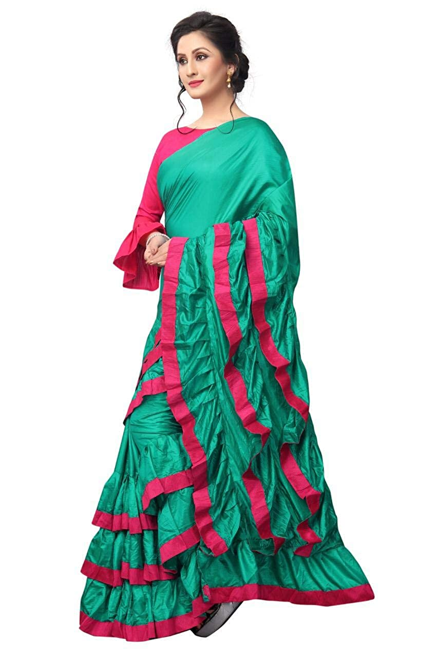d1101c9fd2bd8a AnK Women s Pattern ruffle Silk Saree With Blouse (Firozi Pink)  Amazon.in   Clothing   Accessories