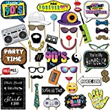 1990s Throwback Party Theme Photo Booth Props Decorations, 41 Pieces with Wooden Sticks and Strike a Pose Sign by Outside The Booth