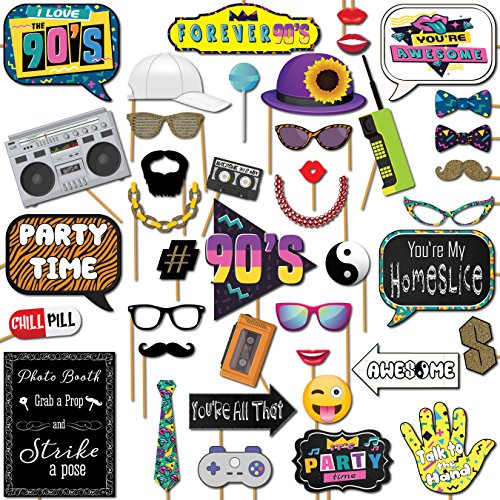 90s Throwback 1990s Party Theme Photo Booth Props 41 Pieces with Wooden Sticks and Strike a Pose Sign by Outside The Booth]()
