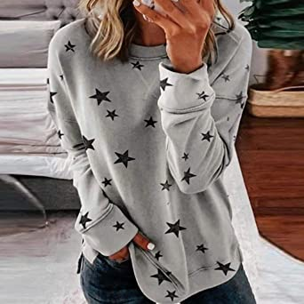 Eoeth Women Casual Loose Tracksuits Simple Round Neck Long Sleeve Star Print Side Split Pullover Sweatshirt Blouse Shirts