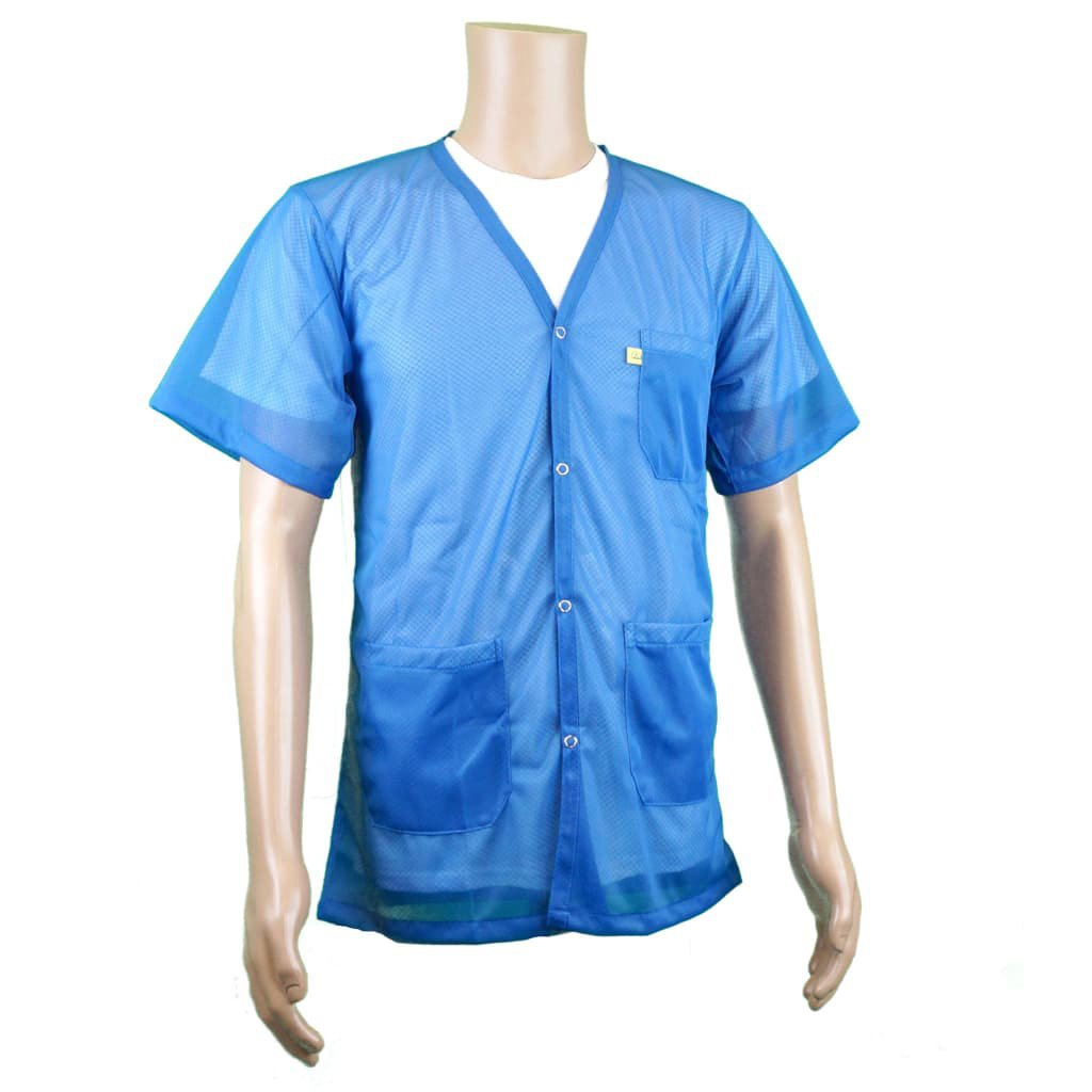 ESD Shielding Short-Sleeve V Neck Jacket | Light Weight Comfort Fabric | Lab Coat Length Anti-Static Smock from StaticTek | Certified Level 3 Static Shielding | Light Blue | X-Large | TT_JKV8825LBSS