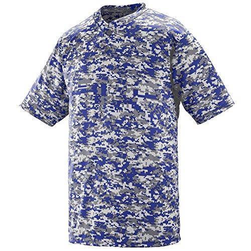 Augusta Sportswear Men's DIGI CAMO Wicking Two-Button Jersey L Purple Digi