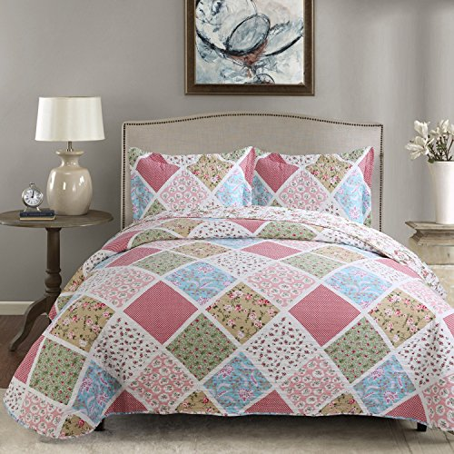 Diamond Patchwork - Hilin Fashion Microfiber Reversible Printing Quilt set Queen size with Shams,as Bedspread,Coverlet or Bed Cover-Soft,Lightweight and Hypoallergenic (Diamond Pattern, 90x90)