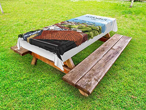 Ambesonne Istanbul Outdoor Tablecloth, Aerial View of Sea Marmara Harbor from The Neighborhood Coast Retro Sketch Art, Decorative Washable Picnic Table Cloth, 58
