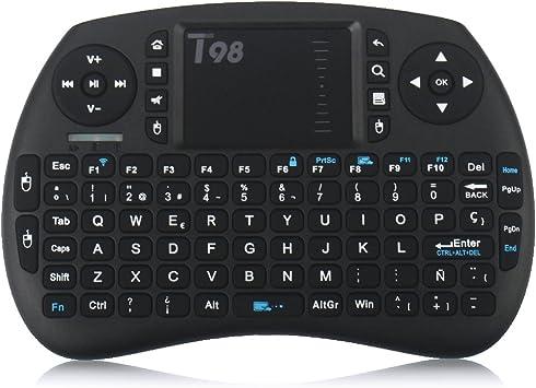 QcoQce Mini teclado inalámbrico T98 QWERTY(tiene Ñ) con touchpad 92 teclas y batería de iones de litio 2.4Ghz Ideal para Smart TV mini-ordenador tablet consola de juegos y TV BOX: Amazon.es: Electrónica