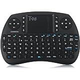 QcoQce Mini teclado inalámbrico T98 QWERTY(tiene Ñ) con touchpad 92 teclas y batería de iones de litio 2.4Ghz Ideal para Smart TV mini-ordenador tablet consola de juegos y TV BOX