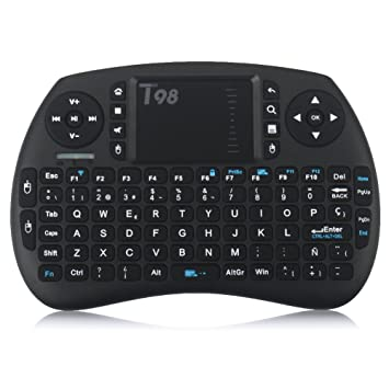 QcoQce Mini teclado inalámbrico T98 QWERTY(tiene Ñ) con touchpad 92 teclas y batería