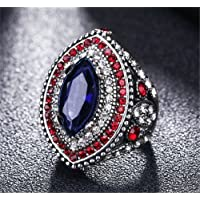Luxurious Mens Woman Silver Inlaid Blue Stone Crystal Female Ring Size 7 8 9 10 (9)