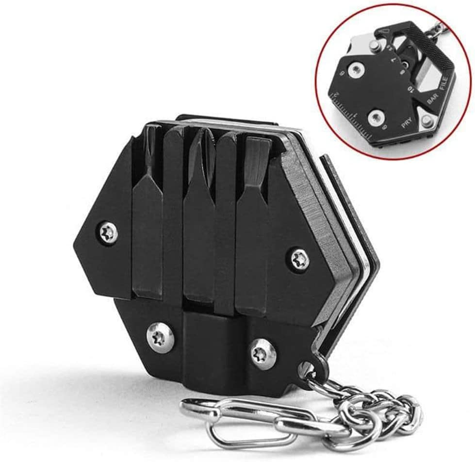 Mini Folding Hexagon Screwdriver EDC Tools Folding Hexagon Key Chain for Outdoor Camping 14 IN 1 Multifunctional Hexagon Folding Coin Tool