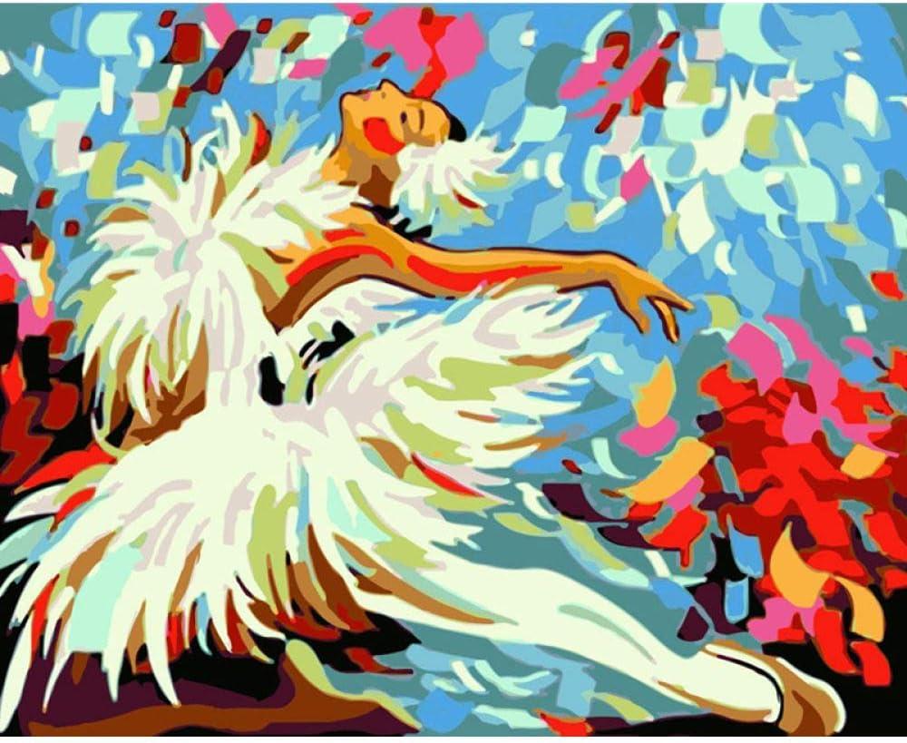 GKOO Pintura por Número De Kit,DIY Pintura Al Óleo para Adultos Niños Principiantes Una Chica En Falda Blanca Patrón Ballet Moderno Diseño Arte Abstracto Cuadros De Pared para El Hogar Salón Pasill