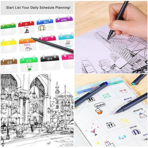 24 Fineliner Color Pens Set, Taotree Fine Line Colored Sketch Writing Drawing Pens for Journal Planner Note Taking and Coloring Book, Porous Fine Point Pens Markers, Perfect for Back to School Ideas