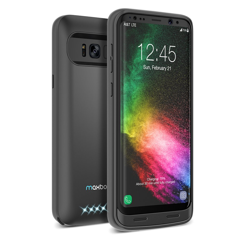 Galaxy S8 Plus Battery Case, Maxboost Atomic Power 5000mAH Charging Battery Pack for Samsung Galaxy s8 Plus/s8+ Extended Fast Charger [Quick Charge Compatible] Protective Case Juice Bank (MB000153)