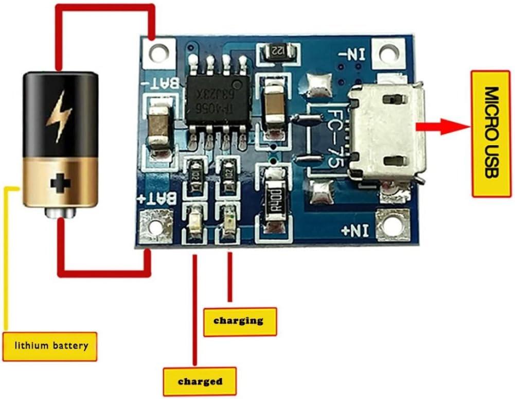 Kinrui 10Pcs 1A 5V TP4056 Lithium Battery Charging Module USB Board Electronic Component
