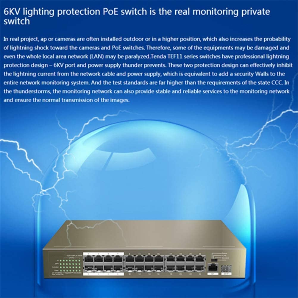 Deeptech PoE Switch,Ethernet Network Switch 24Ports,with 225W PoE Power Supply 6KV Port Lightning Protection,Support Store and Forward