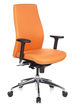 Hjh OFFICE 710010 Chaise De Bureau Haut Gamme SKAVE 200 Orange Pour Une Utilisation Professionnelle