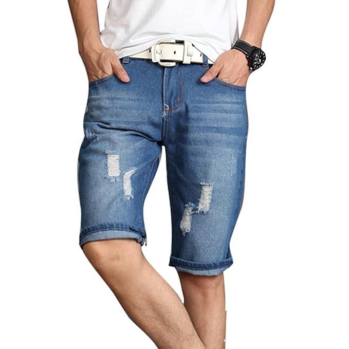 c519d72558 Highdas Jeans Cortos para Hombre - Bermudas Moda Verano hasta la Rodilla  Denim Pantalones Cortos Casuales con Bolsillos Talla Extra Stretch Skinny  Denim ...