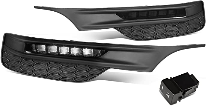 FOR 16-17 HONDA ACCORD SMOKED LED BUMPER DRIVING FOG LIGHT//LAMPS+BEZELS+SWITCH