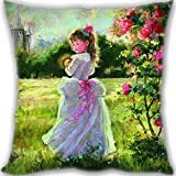 Lidoy Fairy Cute Girl Custom Zippered Leaning Cushion 35x35cm(14x14inch) Mini Size 300g(0.66lb) (Twin sides Print)
