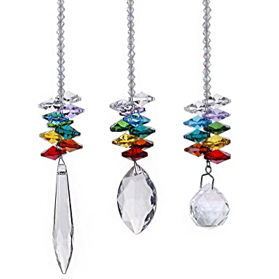 H&D Chandelier Crystals Prisms Rainbow Octagon Chakra Suncatcher, Set of 3 : Garden & Outdoor