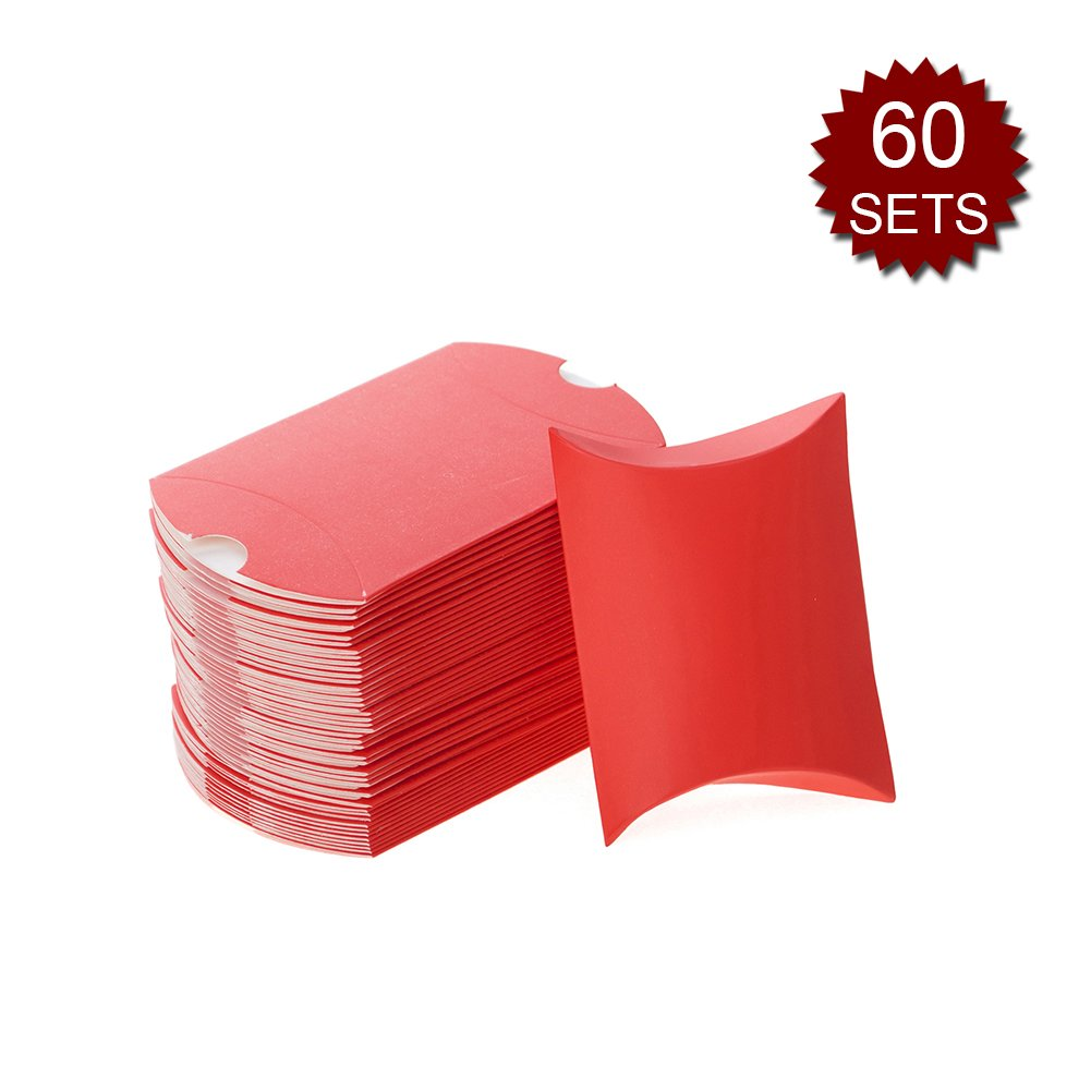 Aspire Set of 48 Multicolor Pillow Paper Boxes, 3-1/2'' x 2-1/4'' x 3/4'' Party Favor Gift Wrapping Box-Red-60 Sets