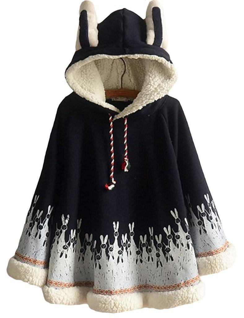 Aza Boutique Women's Cute Cotton Blend Rabbit Ears Hooded Cape, 4_Navy_Fleece, OS
