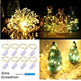 1 2 plastic jar - Pack of 8pcs 20LEDs Micro Starry Moon Lights on Silver Extra Thin Copper Wire, 2 x CR2032 Batteries Required and Included, 3.5 Ft (1m) for DIY Wedding Centerpiece(Warm White)