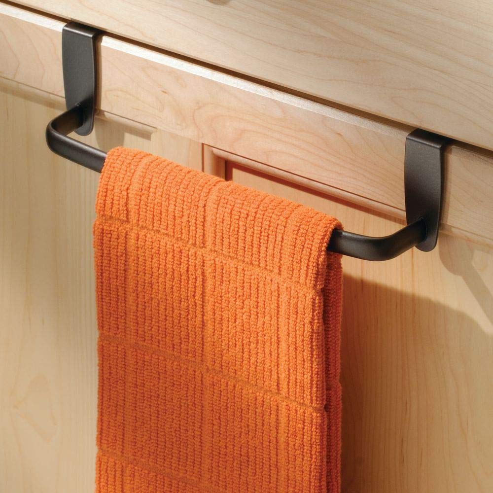 "mDesign Modern Kitchen Over Cabinet Strong Steel Towel Bar Rack - Hang on Inside or Outside of Doors - Storage and Organization for Hand, Dish, Tea Towels - 9.75"" Wide - Bronze"