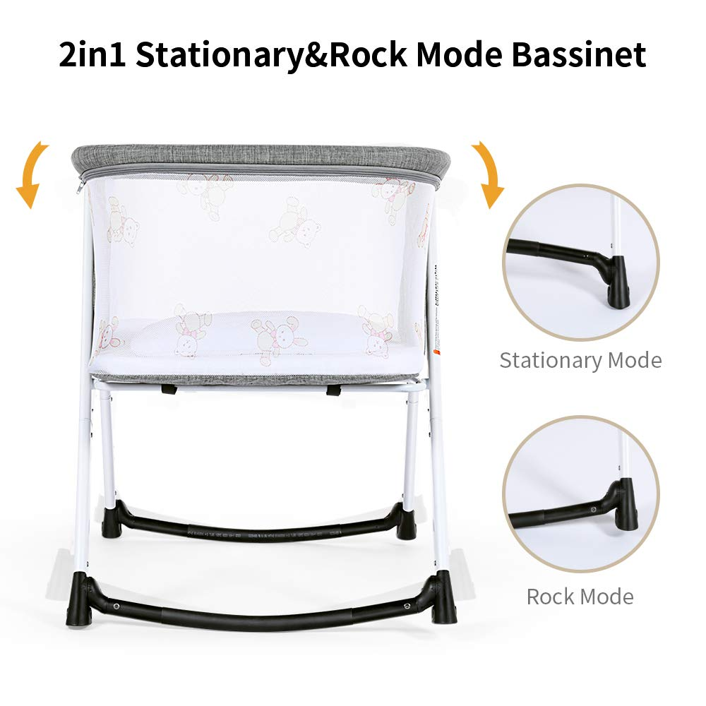 Dourxi 2-in-1 Stationary/&Rock Bassinet Lightweight Travel Cradle for Baby Portable Bedside Crib with Breathable Mesh Side Mosquito Net and Quick Fold Design