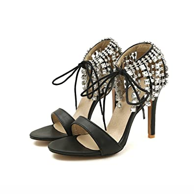 4ebd816c666 Women Heeled Sandals Stilettos Ankle Strap Lace up Rhinestone Tassel  Leather Open Toe Sexy High Heel