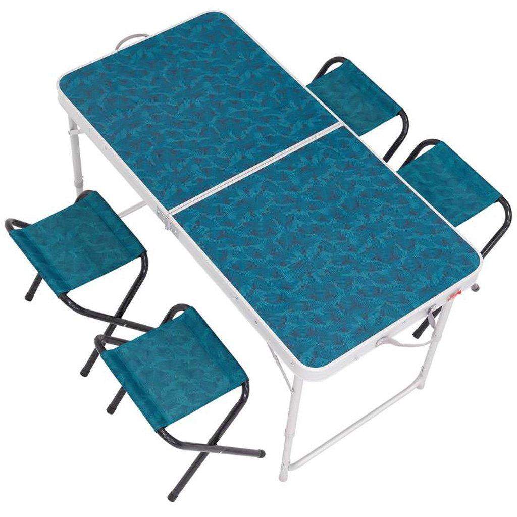 KAI LE Outdoor-Tabelle Camping Outdoor-Möbel Portable Klapptisch und Stuhl Set 4-6 Personen