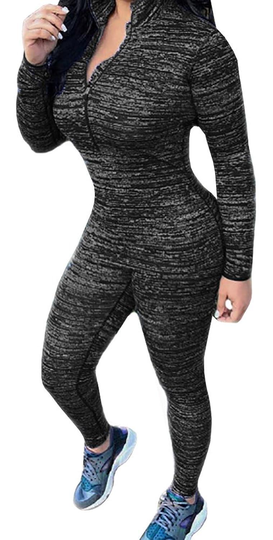 Dellytop Women's Two Piece Jumpsuits Sport Trucksuit Skinny Sweatpant Set