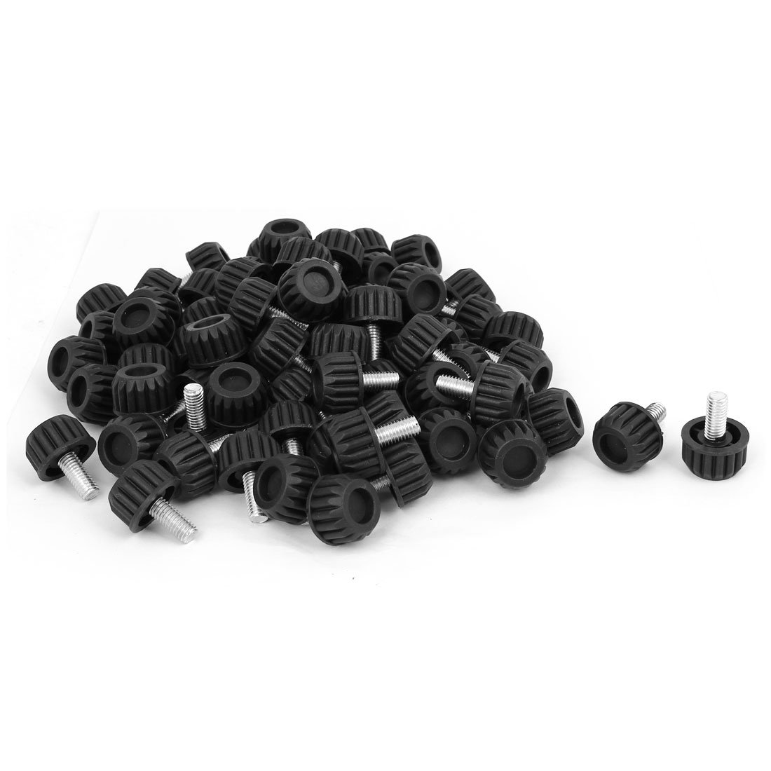 uxcell Home Office M8x18mm Adjustable Furniture Glide Leveling Foot Mat Black 90pcs