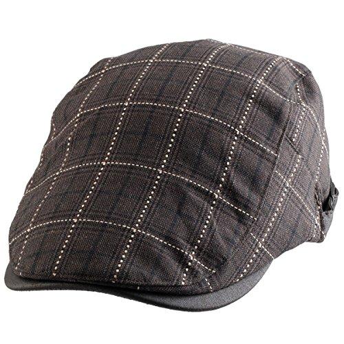 Samtree Newsboy Cap for Men Women,Plaid Ivy Gatsby Flat Driving Beret Hat(01-Brown)