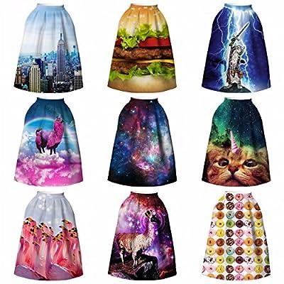 Samtree Women's Digital Animal Printed High Waist A-Line Midi Pleated Skirt