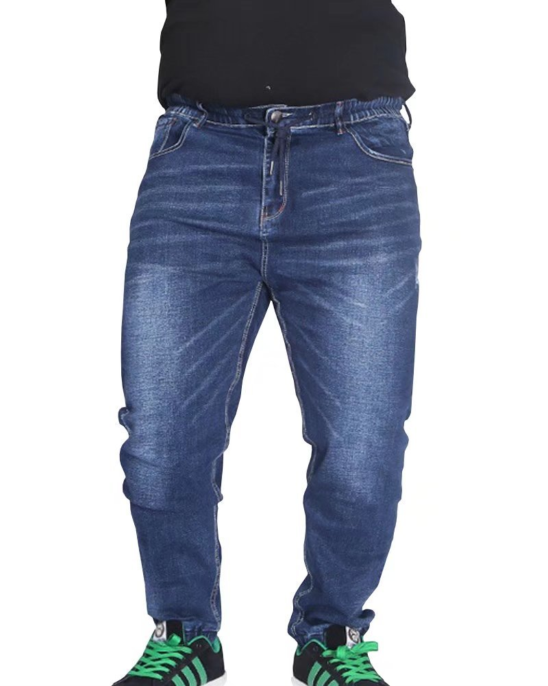 Wxian Men's Elastic Large Size Loose Jeans 30-60