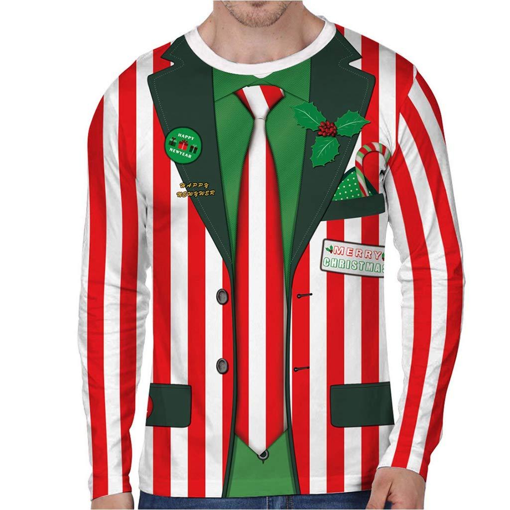 Uomo Invernale Maglione 3D Stampa Natale Slim Felpa con Cappuccio Felpa Cappotto Giacca Outwear Maglione Qinsling